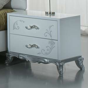 Daniela Bedside Cabinet In White Gloss And Silver With 2 Drawers