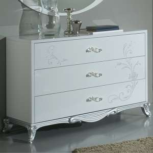 Daniela Chest Of Drawers In White Gloss And Silver With 3 Drawers