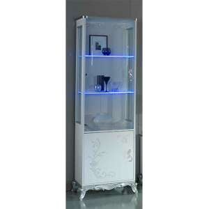 Daniela Gloss Display Cabinet In White And Silver With 2 Doors And LED