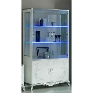 Daniela Gloss Display Cabinet In White And Silver With 4 Doors And LED