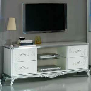 Daniela TV Stand In White High Gloss And Silver With 4 Drawers