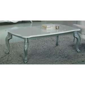 Daniela Wooden Coffee Table In White High Gloss And Silver