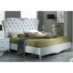 Daniela High Gloss Super King Size Bed In White And Silver