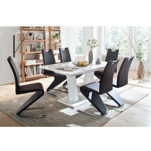 Daniela Extendable 6 Seater Dining Set In High Gloss White