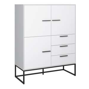 Dano Storage Cabinet In White With 3 Doors And Metal Frame