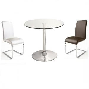 Dante Glass Bistro Table With 2 Lotte Dining Chairs