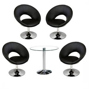 Dante Bistro Table In Clear Glass Top With 4 Polo Black Chairs