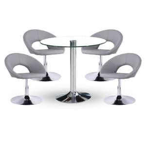 Dante Bistro Table In Clear Glass Top With 4 Polo Grey Chairs