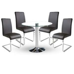 Dante Dining Table In Clear Glass With 4 Lotte Black Chairs