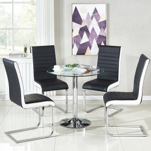 Dante Glass Dining Table And 4 Symphony Black And White Chairs