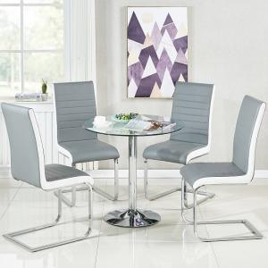Dante Glass Dining Table And 4 Symphony Grey And White Chairs