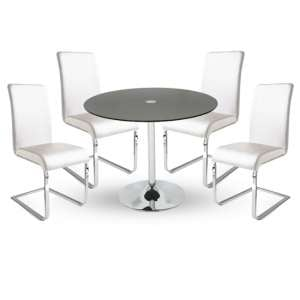 Dante Glass Dining Table In Black With 4 Lotte White Chairs