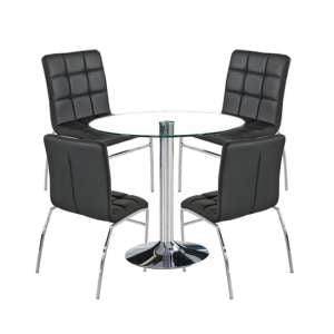 Dante Round Glass Dining Set With 4 Black PU Leather Coco Chairs
