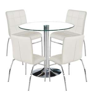 Dante Round Glass Dining Set With 4 White PU Leather Coco Chairs