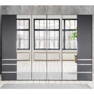 Danzig Mirrored Wardrobe Large In Graphite With 6 Drawers