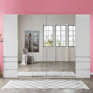 Danzig Mirror Wardrobe Large In White With 6 Doors And 6 Drawers