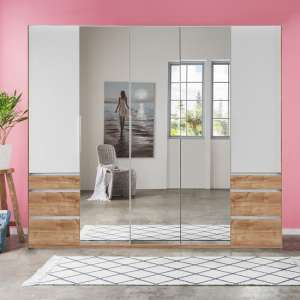 Danzig Mirrored Wardrobe In White Planked Oak Effect And 5 Doors