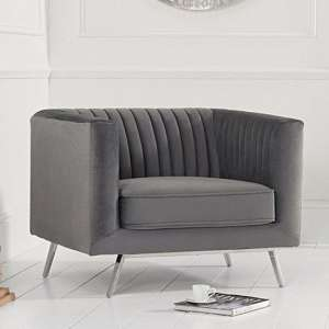 Daonil Velvet Armchair In Grey With Chrome Metal Legs