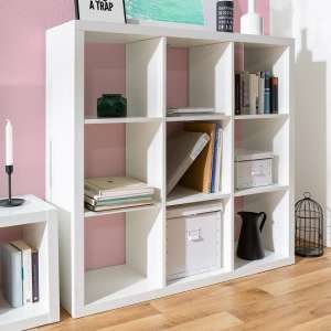 Darby Shelving Unit Wide In White High Gloss With 9 Compartments