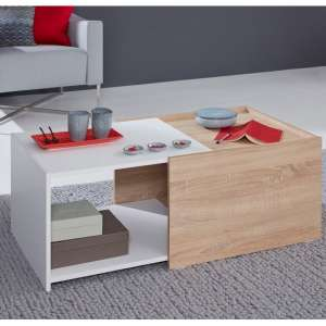 Daria Extendable Wooden Coffee Table In Light Oak And White