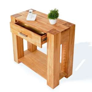 Daria Wooden Telephone Table In Wild Oak With 1 Drawer