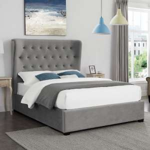 Daris Fabric Bed In Grey With Buttoned Headboard