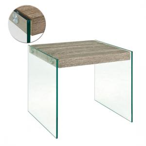 Olymp Side Table In Dark Oak With Glass Legs