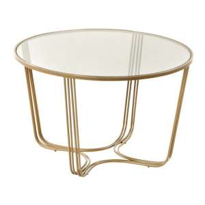Darla Round Glass Coffee Table With Gold Metal Base