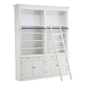 Davoca Large Wooden 2 Sections Bookcase With Ladder In White
