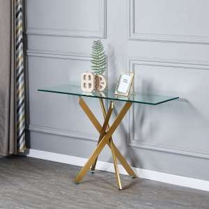 Daytona Clear Glass Console Table With Brushed Gold Legs