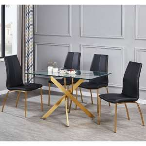 Daytona Glass Small Dining Table With Four Opal Black Chair