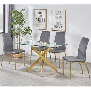 Daytona Clear Glass Small Dining Table With Four Opal Grey Chair