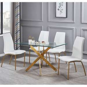 Daytona Glass Small Dining Table With Four Opal White Chair