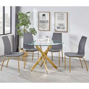 Daytona Round Glass Dining Table With Four Opal Grey Chairs