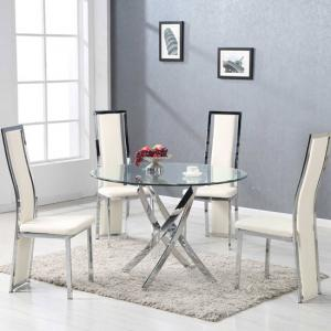 Daytona Round Glass Dining Table With 4 Collete Cream Chairs