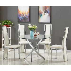 Daytona Round Glass Dining Table With 4 Collete White Chairs
