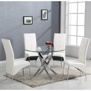 Daytona Glass Dining Table Round With 4 Vesta White Chairs