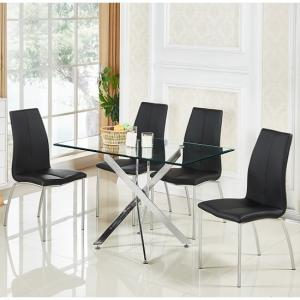 Daytona Small Glass Dining Table With 4 Opal Black Chairs