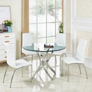 Daytona Round Glass Dining Table With 4 Opal White Chairs
