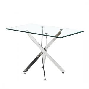 Daytona Glass Dining Table Small In Clear With Chrome Legs
