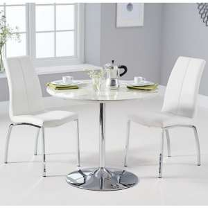 Deborah Marble Dining Set In White With 2 White Naos Chairs
