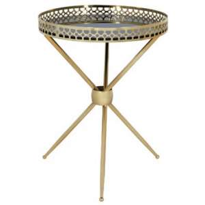Deford Mirrored Side Table Round In Black And Gold Finish