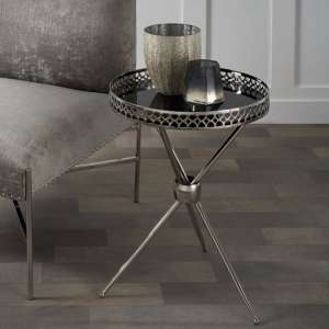 Deford Mirrored Side Table Round In Black And Nickel Finish