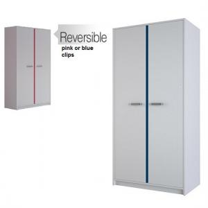 Delphi Wooden Wardrobe In Pearl White With 2 Doors