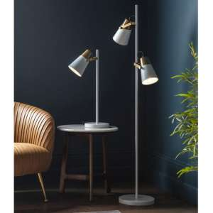 Delta Floor Lamp In White and Gold