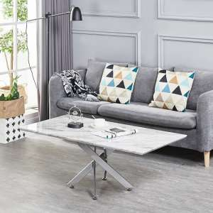 Deltino Grey Marble Effect Coffee Table With Chrome Legs