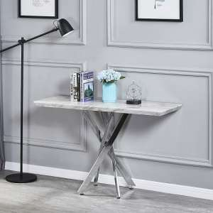 Deltino Grey Marble Effect Console Table With Chrome Legs