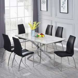 Deltino Grey Marble Effect Dining Table With 6 Opal Black Chairs