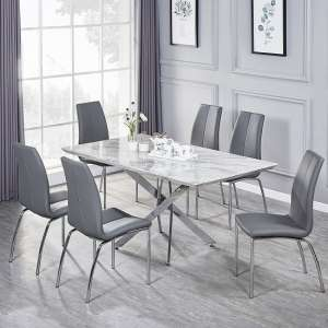 Deltino Grey Marble Effect Dining Table With 6 Opal Grey Chairs