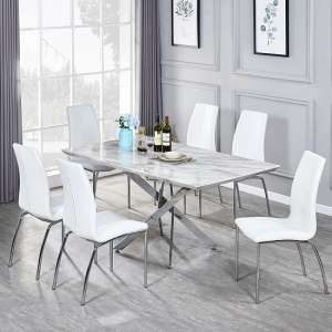 Deltino Grey Marble Effect Dining Table With 6 Opal White Chairs